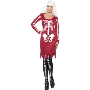 40075 - Beauty Bones Costume, Red, Dress With Long Sleeves And LED Heart