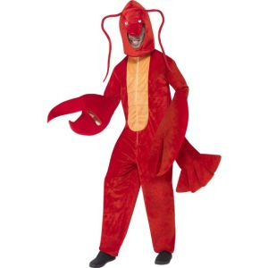 40091 - Lobster Costume, Red, With Bodysuit And Hood
