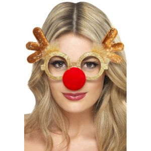 41053 - Reindeer Comedy Specs, With Antlers And Attached Nose