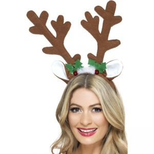 41083 - Reindeer Antlers, Brown, With Bells, Holly And Marabou