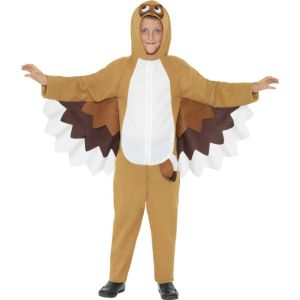 41088 - Owl Costume, Brown, All In One With Attached Wings And Hood