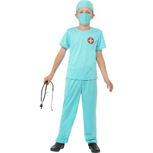 41090 - Surgeon Costume, Blue, Top, Trousers, Hat, Mask & Stethoscope