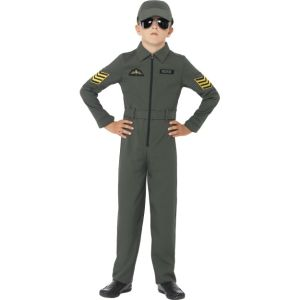 41091 - Aviator Costume, Khaki, Jumpsuit With Badges, Attached Belt And Hat