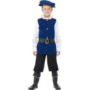 41092 - Tudor Boy Costume, Royal Blue, Top, Trousers With Boot Covers, Belt And Hat