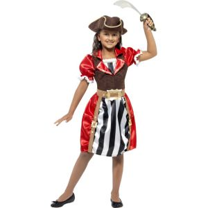 41094 - Girls Pirate Captain Costume, Red, Dress With Mock Waistcoat, Hat And Mock Belt