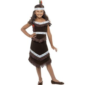 41096 - Indian Girl Costume, Brown, Fringed Dress And Feather Headband