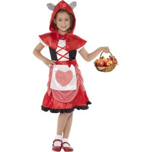 41100 - Miss Hood Costume, Red, With Dress And Hooded Cape With Attached Wolf Ears