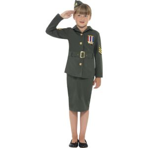 41104 - WW2 Army Girl Costume, Khaki Green, With Jacket, Skirt, Attached Belt And Hat