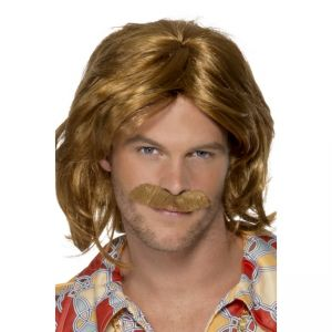 42005 - 70\'S Super Trouper Wig & Moustache,Brown
