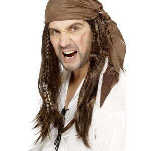 42074 - Buccaneer Pirate Wig,Brown