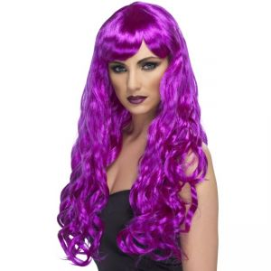 42110 - Desire Wig, Purple, Long, Curly With Fringe