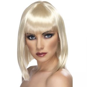 42133 - Glam Short Blunt Wig, Blonde, With Fringe
