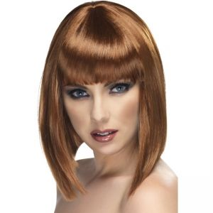 42135 - Glam Short Wig, Brown, With Fringe