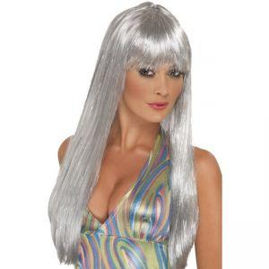42166 - Glitter Disco Wig,Silver