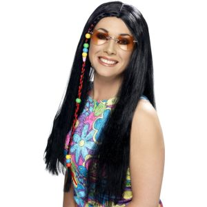42183 - Hippy Party Wig ,Black