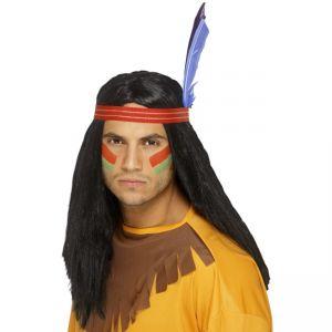 42189 - Indian Brave Wig ,Black