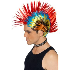 42285 - 80\'S Street Punk Wig, Mohawk,Multi-Coloured