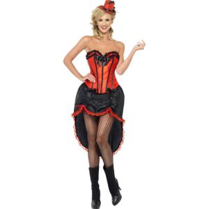 42336 - Burlesque Dancer Costume, Red, With Adjustable Skirt And Bodice