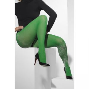 42734 - Tights, Green, With Silver Sparkle