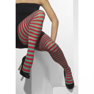 42751 - Tights, Red And Green, Striped