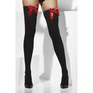 42757 - Opaque Hold-Ups, Black, With Red Bows