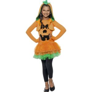 43021 - Pumpkin Tutu Dress Costume, Orange, With Tutu Dress And Jacket With Pumpkin Hood