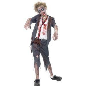 43022 - Zombie School Boy Costume, Trousers, Jacket With Mock Shirt & Tie