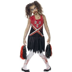 43023 - Zombie Cheerleader Costume, Red & Black, With Blood Stained Dress And Pom Poms
