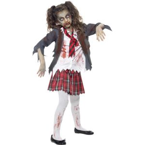 43025 - Zombie School Girl Costume, Grey, Tartan Skirt, Jacket, Mock Shirt & Tie