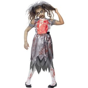 43027 - Zombie Bride Costume, Grey, Bloodied Dress With Printed Chest Piece And Veil