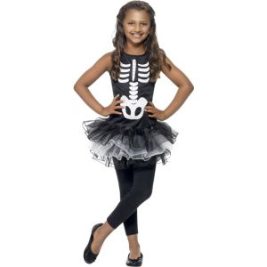 43029 - Skeleton Tutu Costume, Black & White, Printed Dress With Tutu