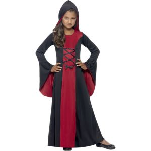 43031 - Hooded Vamp Robe Costume, Red & Black, With Lace-Up Detail