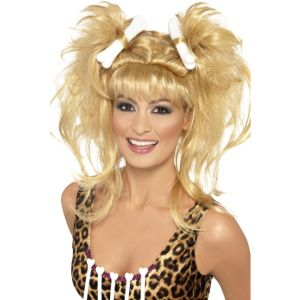 43269 - Crazy Cavegirl Bunches Wig,Blonde