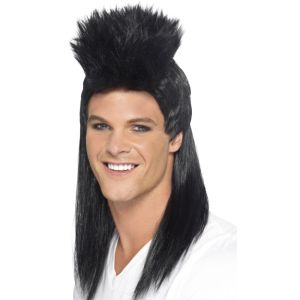 43452 - 80\'S Rocker Mullet Wig, Long,Black