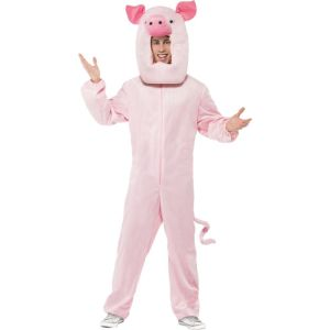 43814 - Pig Costume, Pink, With Bodysuit And Hood