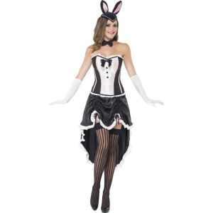 43883 - Bunny Burlesque, Black, With Corset, Adjustable Skirt And Bow Tie