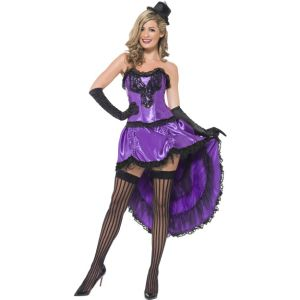 43884 - Burlesque Glamour Costume, Purple, With Corset And Adjustable Skirt