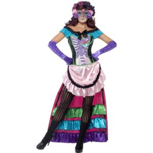 44005 - Day Of The Dead Sugar Skull Costume, Pink, Dress With Train, Lace Up Corset And Eye Mask