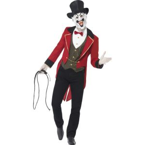 44007 - Sinister Ringmaster Costume, Red & Black, Jacket With Tails, Mock Shirt, Mask With Top Hat
