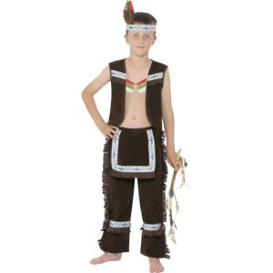44010 - Indian Boy Costume, Brown, With Waistcoat, Fringed Chaps And Headband