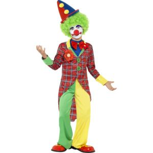 44011 - Clown Costume, Red & Green, With Jacket, Trousers And Mock Shirt With Bowtie