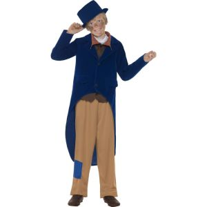 44014 - Dickensian Boy Costume, Navy Blue, Jacket, Trousers, Mock Shirt With Necktie And Hat