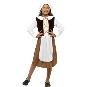 44015 - Tudor Girl Costume, Brown, With Dress, Hat And Mock Apron