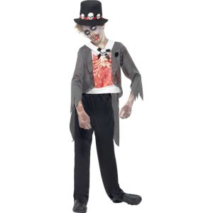 44031 - Zombie Groom Costume, Black, Jacket, Printed Mock Shirt, Trousers And Hat
