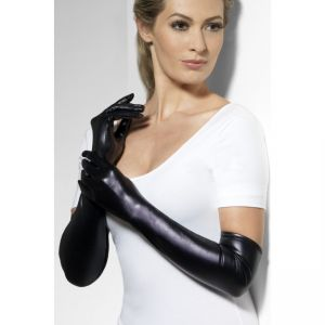 44039 - Gloves, Wet Look, Black