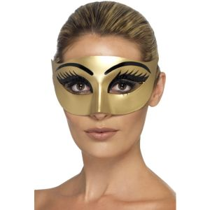 44277 - Evil Cleopatra Eyemask, Gold With Eyelashes