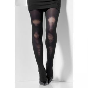 44443 - Opaque Tights, Black, With Distressed Detail