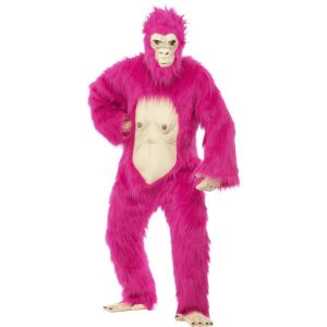 45392 - Deluxe Gorilla Costume, Neon Pink, Bodysuit With Latex Mask, Hands And Feet