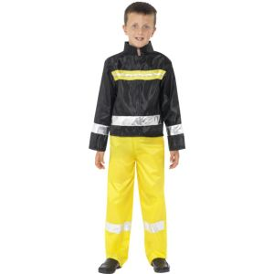 50976 - Fireman Costume, Black & Yellow, Jacket And Trousers