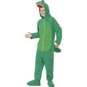 55006 - Crocodile Costume, Green, All In One With Hood